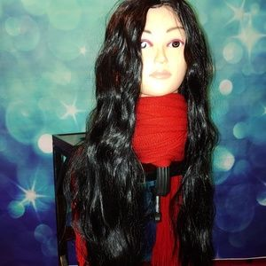 Very long black wig #725